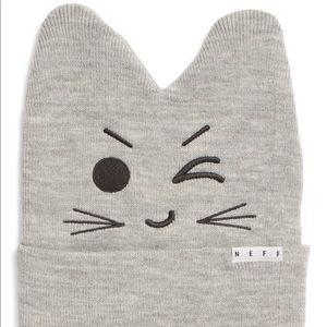New Neff Women's Gray Kitty Beanie Hat